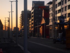A street in The Village on False Creek at sunrise