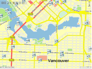 Map of Car2go locations around false creek