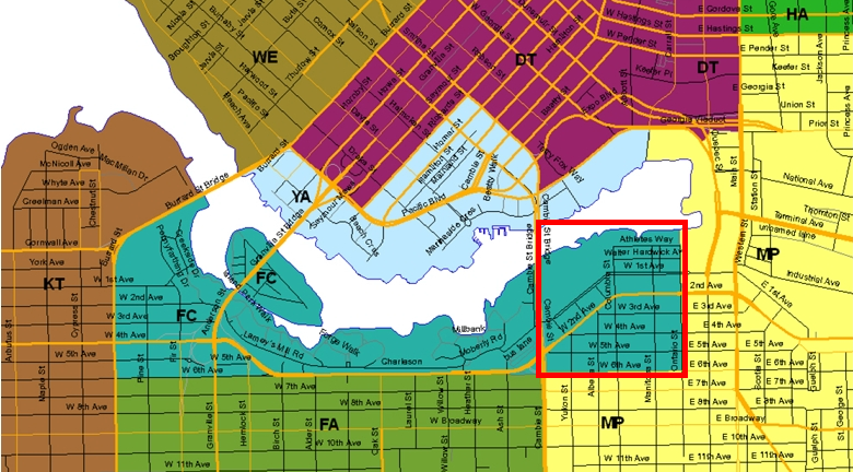 Map of real estate sub-areas around False Creek, Vancouver, BC