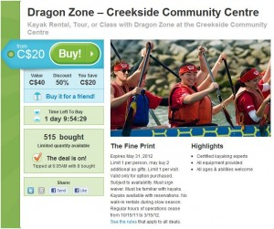 Groupon for Kayaking with Dragon Zone at the Creekside Community Centre