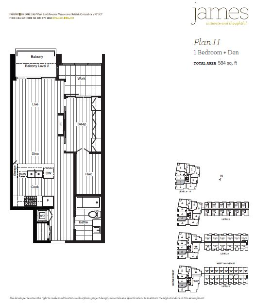 Floorplan for Unit 811 James Condo Development by Cressey in Southeast False Creek