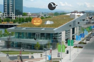 Creekside Community Centre in Southeast False Creek dressed up for Halloween