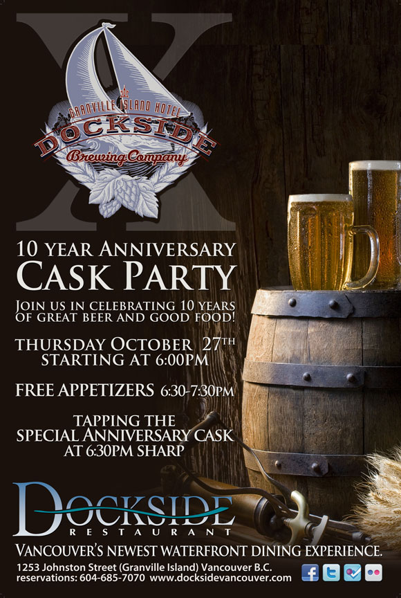 Dockside restaurant granville island 10th anniversary cask party poster