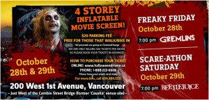 Halloween Drive-in Advertisement for outdoor movies in Southast False Creek. Gremlins and Beetlejuice