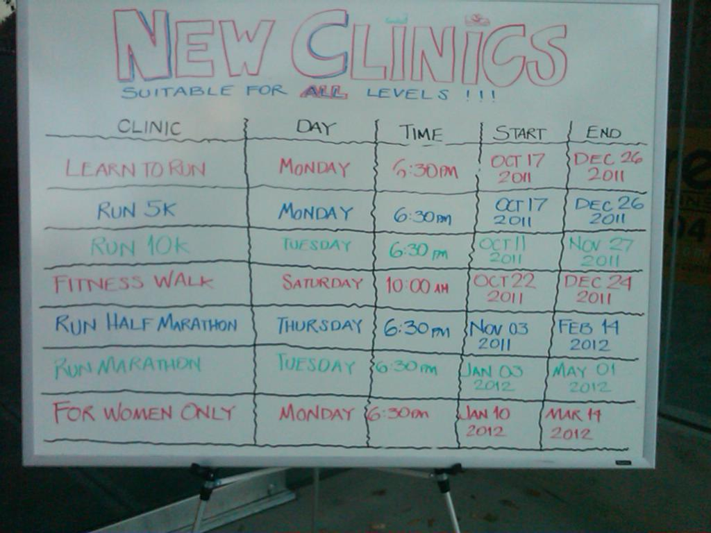 Upcoming Clinics Sign at The Running Room at W. 7th and Cambie