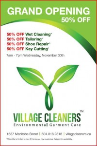 Village Cleaners Grand Opening 50% off