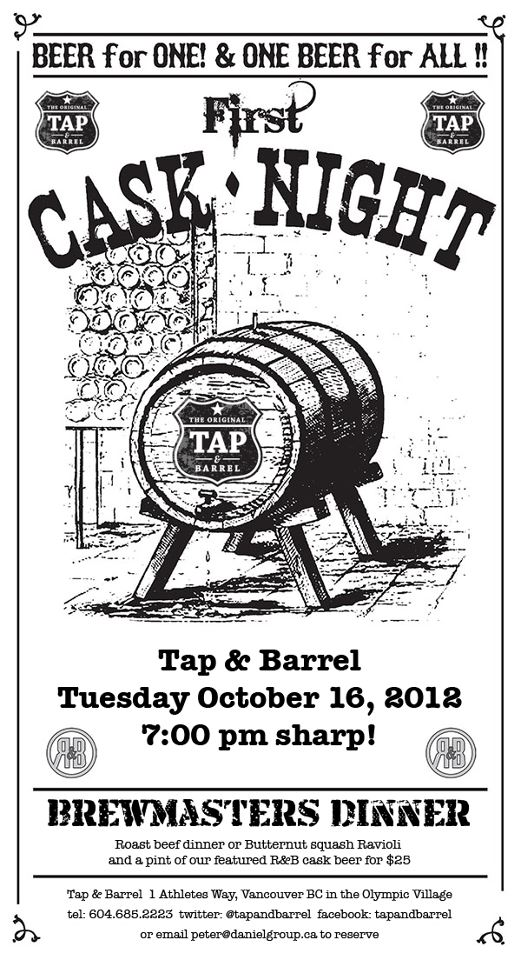 Tap and Barrel Cask Night Poster