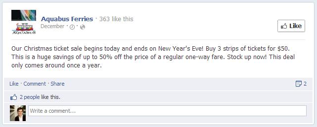 Facebook Status Half price aquabus tickets