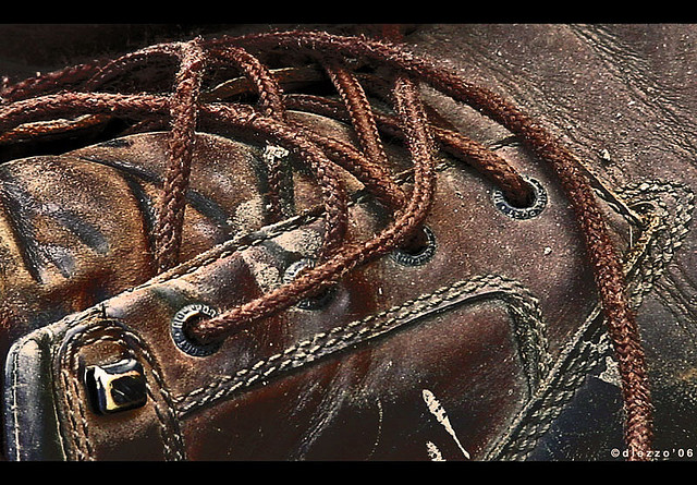 Old leather shoe