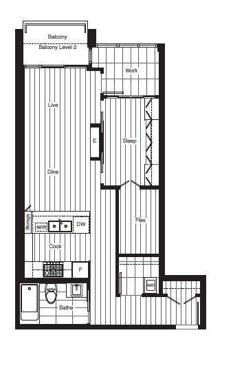 Floor plan J at James in Southeast False Creek
