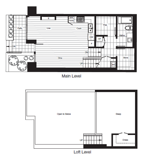 Loft Floor plan F at James in Southeast False Creek