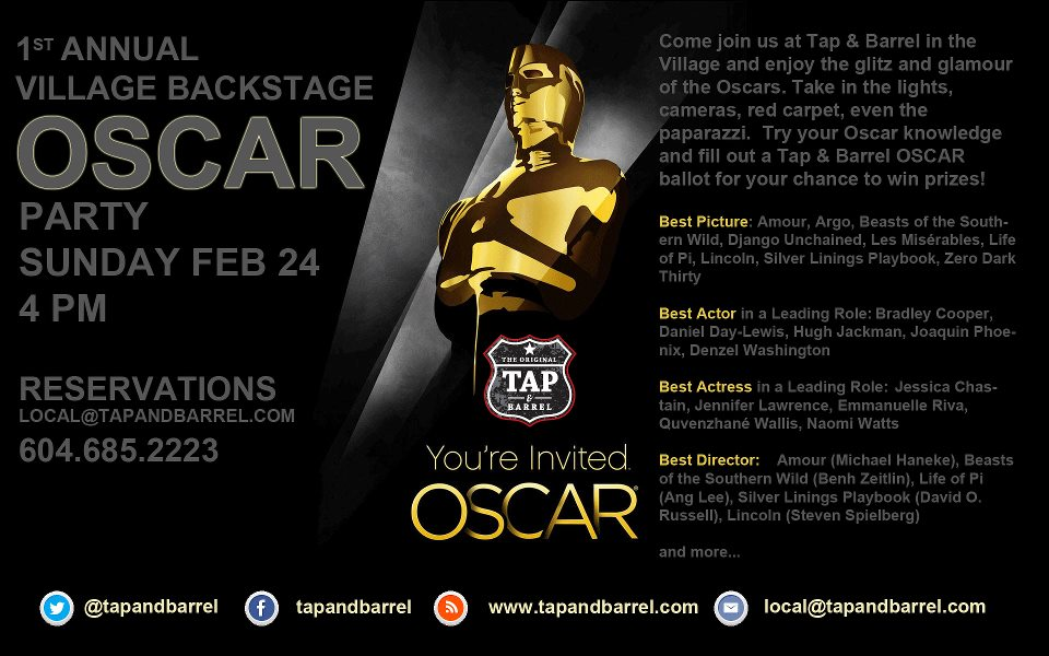 You`re invited to the The First Annual Backstage Village Oscars Party at Tap and Barrel