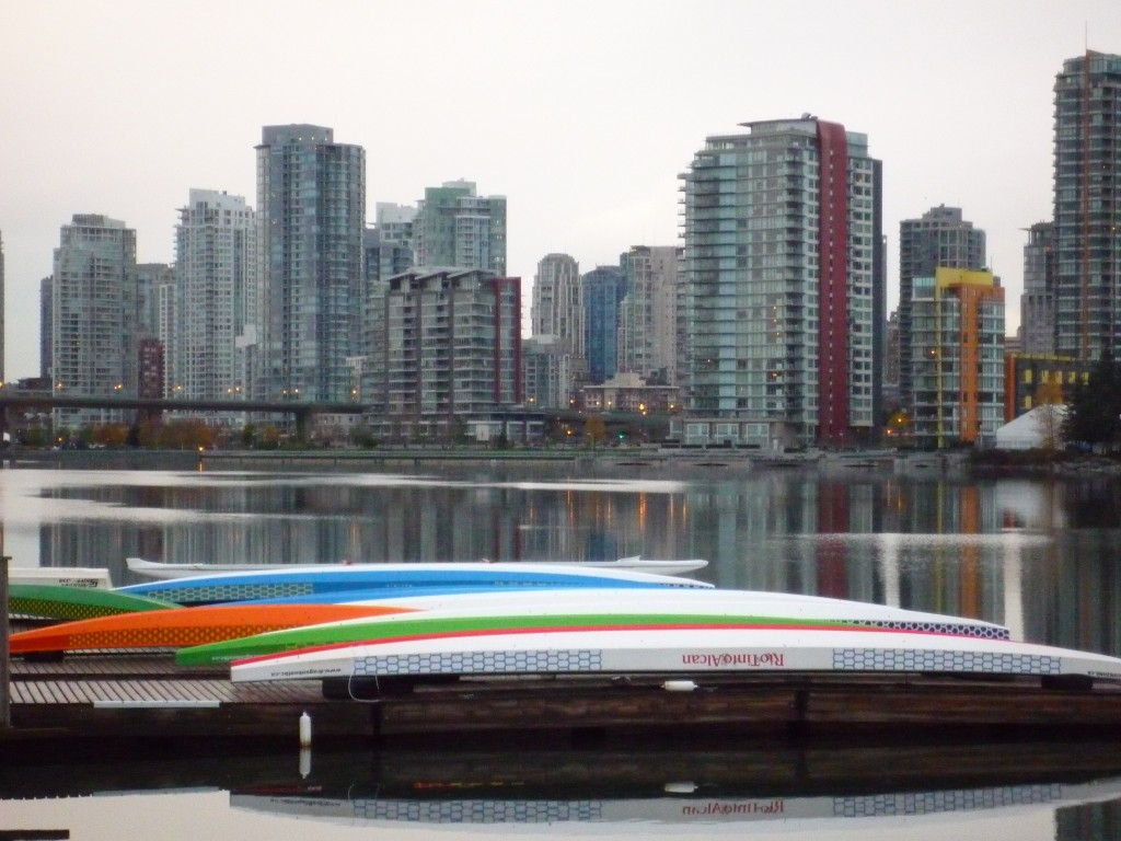 Dragon boats on the dock in the Village on False Creek
