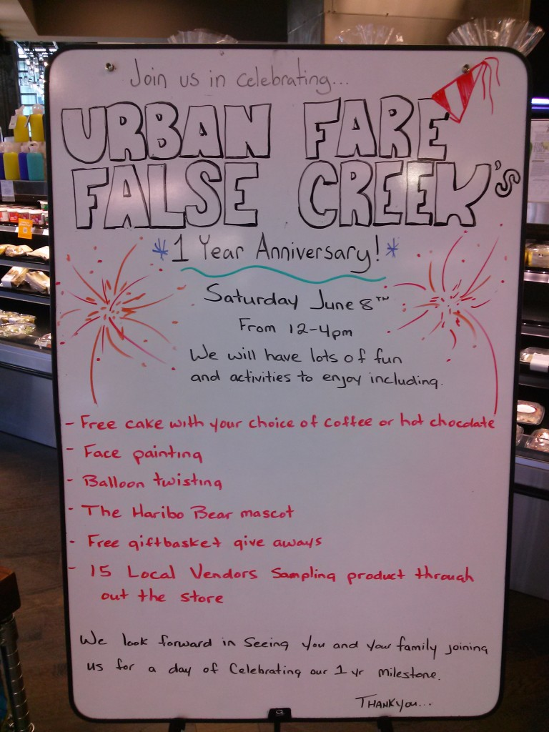 Urban Fare False Creek in the Olympic Village to Celebrate it's 1st Anniversary