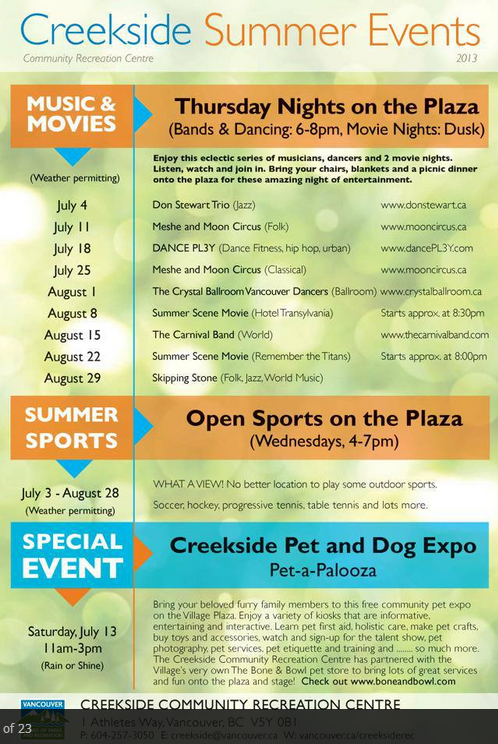 Creekside Summer Events Outdoors in The Olympic Village
