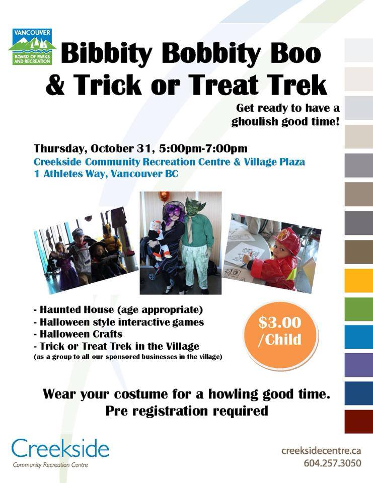 Creekside Community Centre Halloween Bibbity Bobbity Boo Halloween Trek