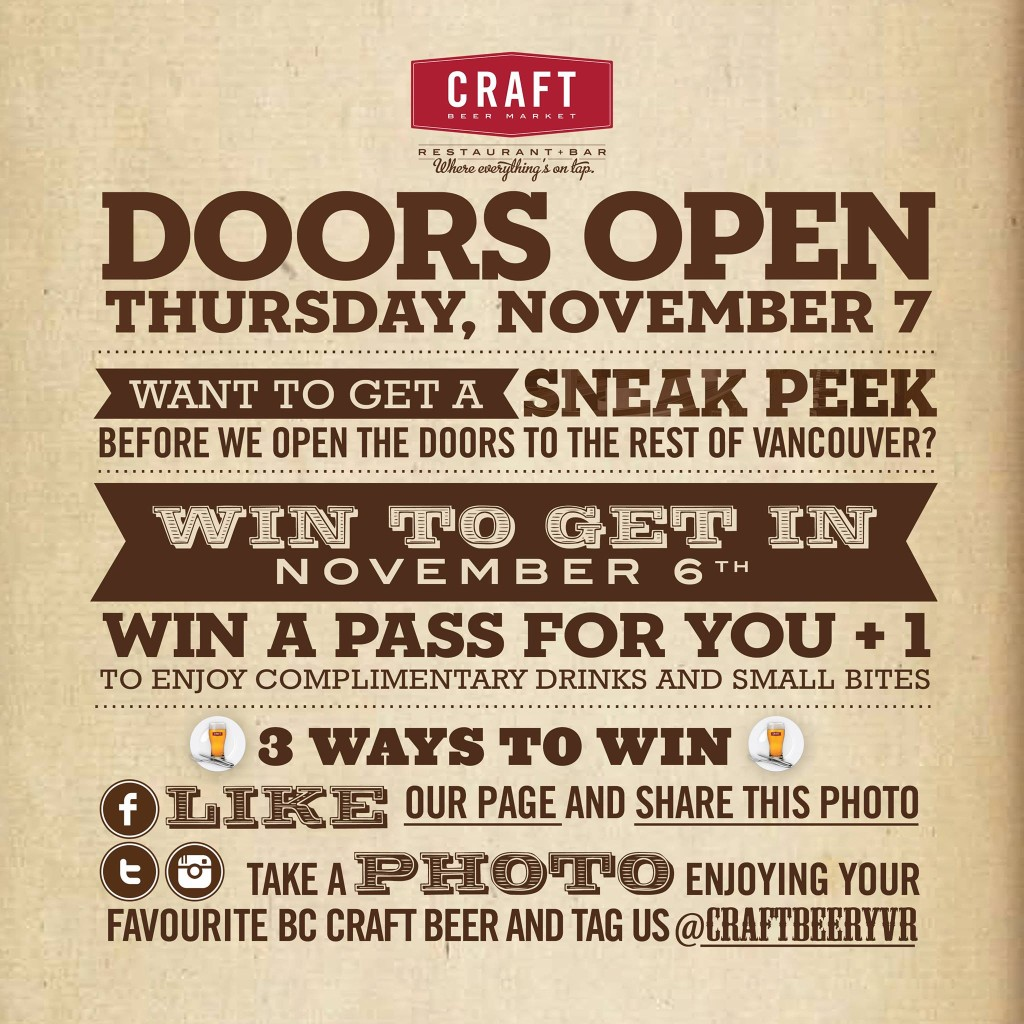 Win access to the Craft Beer Market Vancouver Sneak Peek event.
