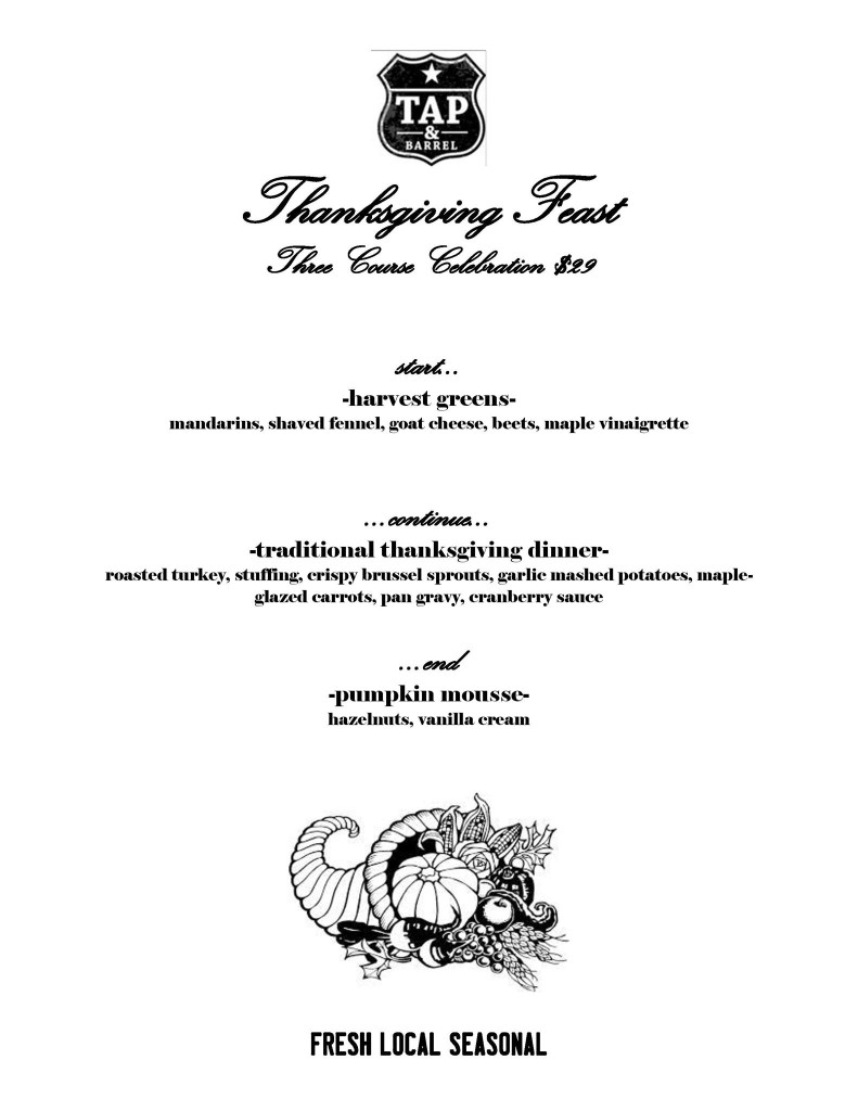 Tap and Barrel  2013 Thanksgiving Dinner Menu