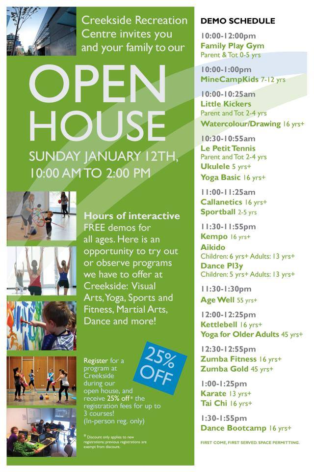 Creekside Community Centre Open House Sunday January 12, 2014