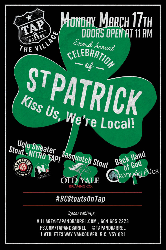 St Patrick's Day at Tap & Barrel poster