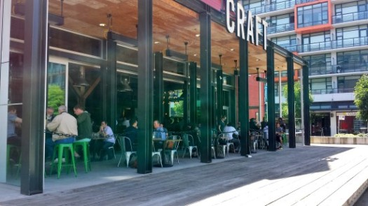 Craft Beer Market Patio in the Olympic Village, Vancouver, BC