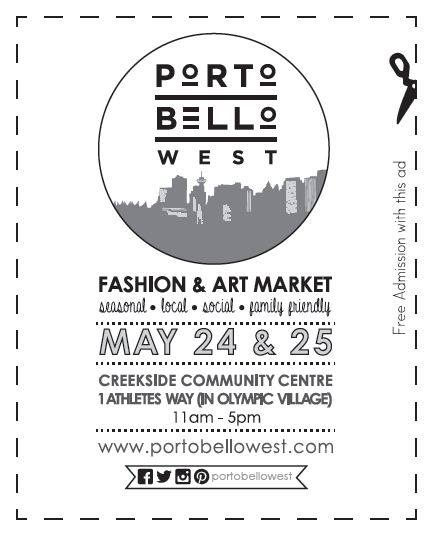Portobello West Coupon for May 24th and 25th at Creekside Community Centre