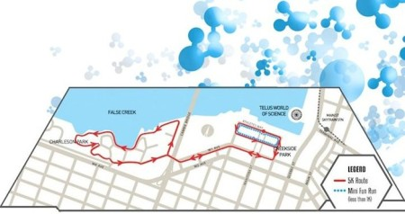 Science Fair 5km race route in False Creek