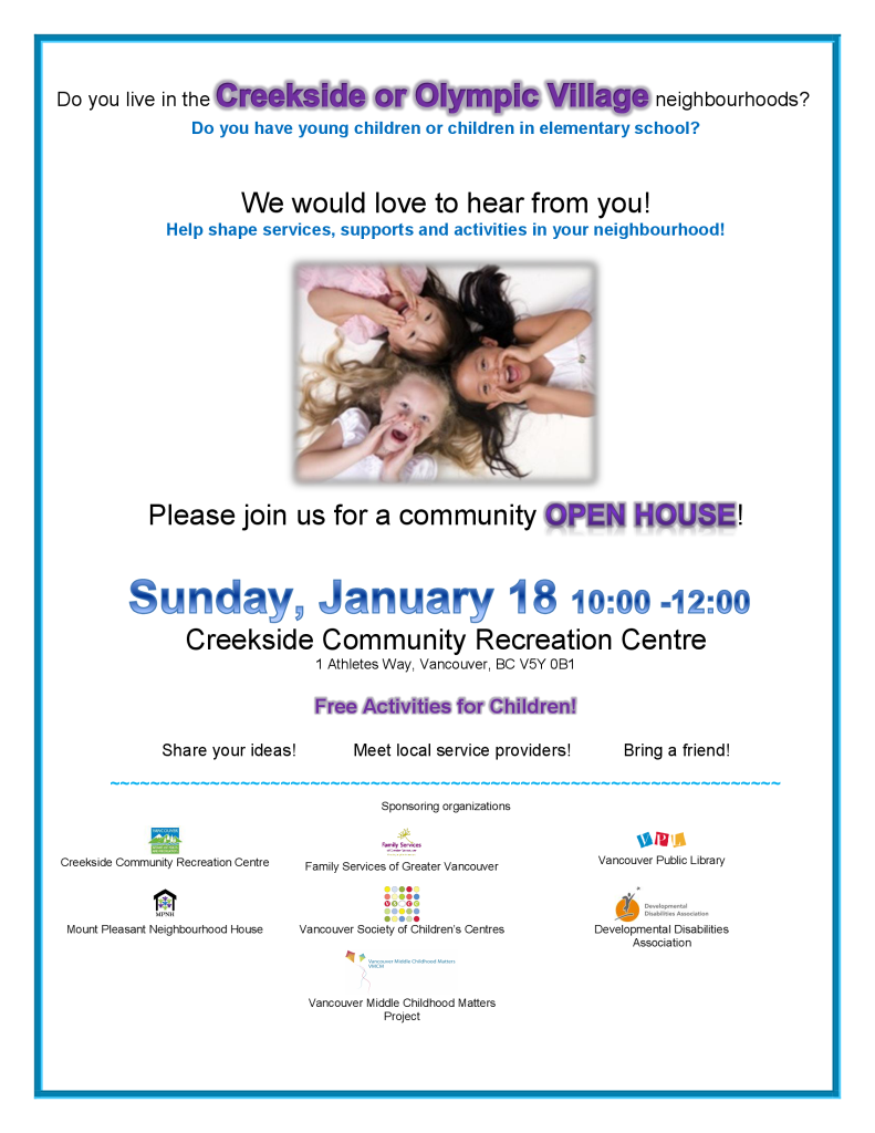 Do you have choldren? Creekside Community Centre Open House January 2015