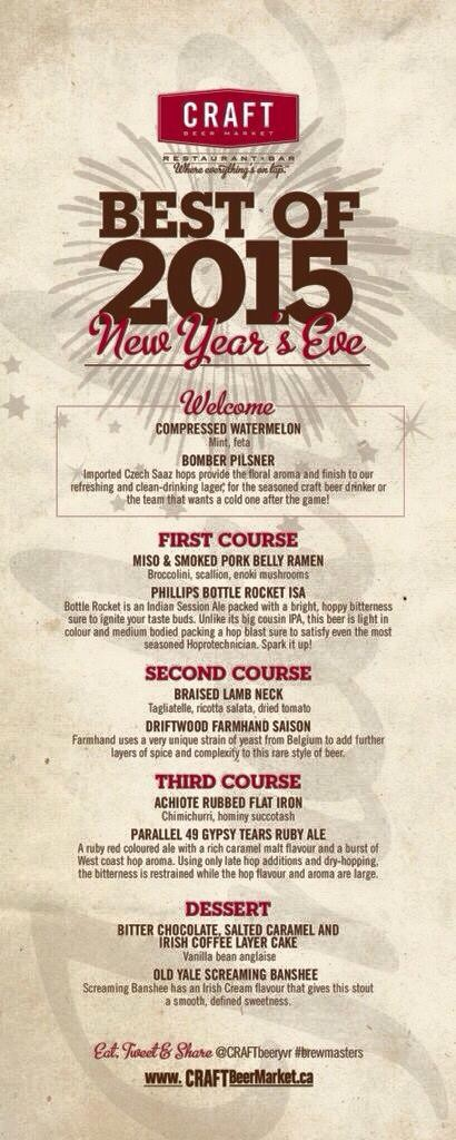 Craft Beer Market New Years Eve Brewmasters Dinner