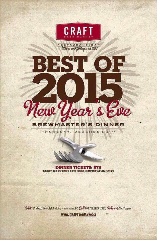 Craft Beer Market New Years Eve Brewmaster's Dinner
