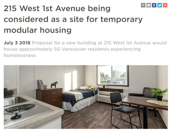 215 W 1st Ave near Olympic Village being considered for temporary modular housing